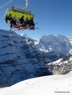 Sunny winter day at Jungfrau, Switzerland.