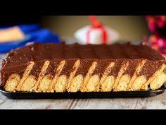 Sütés nélkül torta - Keksz torta piskótával - egy nagyszerű desszert sütés nélkül!   Ízletes TV - YouTube Party Desserts, Just Desserts, Dessert Recipes, Sweet Cakes, Biscotti, No Bake Cake, Nutella, Cheesecake, Deserts