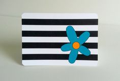 Black and White Note Card with Flower Set of by IdAndEgoCreations, $13.00