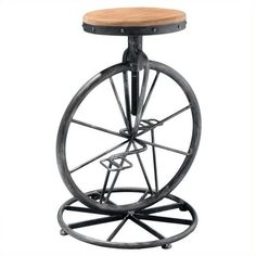 "Trent Home 26"""" Davide Bicycle Wheel Adjustable Bar Stool ($95) ❤ liked on Polyvore featuring home, furniture, stools, barstools, natural, noble house, flower stem, noble house furniture, adjustable bar stools and coloured stools"