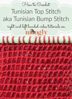 Top Stitch/Tunisian Bump Stitch Learn how to crochet the Tunisian Top Stitch and Tunisian Bump Stitch on !Learn how to crochet the Tunisian Top Stitch and Tunisian Bump Stitch on ! Crochet Afghans, Tunisian Crochet Patterns, Crochet Granny, Double Crochet, Knitting Patterns, Learn To Crochet, Crochet Yarn, Lace Knitting, Crochet Flower