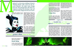 """Maleficent Fictional Magazine spread, a spread based on Angelina Jolie's role in the disney movie """"Maleficent."""" Made using Adobe Photoshop and Adobe Indesign."""