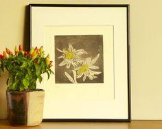 Original Etching Print EDELWEISS The Queen Symbol Flower Alpine Zermatt Mountain…