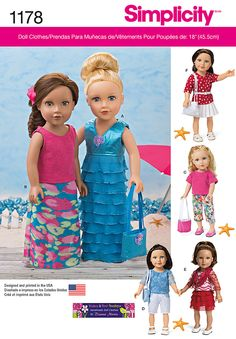 "Sew modern clothes and fashion-forward accessories sized for 18"" dolls. Simplicity pattern 1178 includes a tiered dress, multiple tops and skirts, pants, shorts, scarf, bags, and belt."