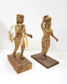 Set of Hand-Carved Mahogany Figures by 13thhourvintageshop on Etsy