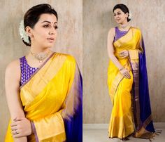 Want to know new ways to style your silk sarees this year? Do check out our tips Pattu Saree Blouse Designs, Blouse Designs Silk, Saree Blouse Patterns, Designer Silk Sarees, Indian Designer Wear, Indigo Saree, Onam Saree, Marathi Bride, Checks Saree