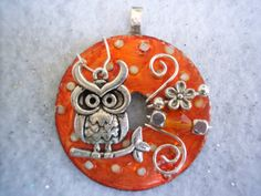 Cute Orange Wire Wrapped and Beaded Washer Pendant with Owl Charm via Etsy. Owl Jewelry, Resin Jewelry, Wire Wrapped Jewelry, Jewelry Crafts, Beaded Jewelry, Jewelery, Jewelry Design, Jewelry Ideas, Bullet Jewelry