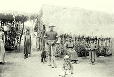 Sgt. Ben July, celebrated Seminole-negro scout for US cavalry, shown with his family at the Seminole-negro village near Fort Clark, Texas.