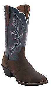 Justin® Stampede Collection™ Ladies Dark Brown w/Denim Top Punchy Toe Western Boot