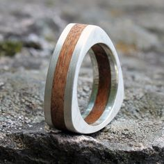 Items similar to mens womens ring / wedding band  in sterling  silver w/ wood, bamboo or acrylic on Etsy