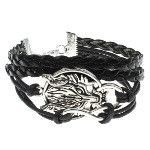 Black Leather Silver Tone Wolf & Infinity Symbol Bracelet