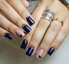 Make an original manicure for Valentine's Day - My Nails Love Nails, Pretty Nails, Blue Nail Designs, Nail Ring, Star Nails, Nail Envy, Luxury Nails, Powder Nails, Nail Arts