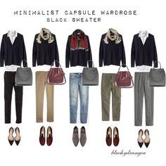 Minimalist Wardrobe - Fall 2015 - Black Sweater by bluehydrangea on Polyvore featuring Madewell, J.Crew, Boden, Zara, Rêve D'un Jour, Banana Republic, SEVENTY and Lost & Found