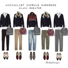 Minimalist Wardrobe - Fall 2015 - Black Sweater by bluehydrangea on Polyvore featuring Madewell, J.Crew, Boden, Zara, Rêve D'un Jour, Banana Republic, SEVENTY and Lost & Found