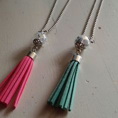 Green tassel necklace Green tassle necklace with a crystal bead. Length is 17 inches. New without tags. Jewelry Necklaces