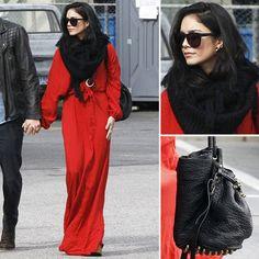 Vanessa Hudgens Wearing Red Maxi Dress   POPSUGAR Fashion