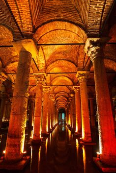 Basilica Cistern, Turkey -- The largest of hundreds of ancient cisterns that lie under Istanbul.
