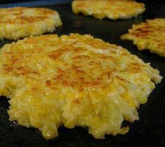 1Head of califlower 2 lg. Eggs 1/2 c. Cheddar cheese 1/2 c. Panko bread crumbs Salt & pepper to taste Olive oil Boil califlower to tender and mash. Stir in all other ingredients and make patties. Put olive oil in skillet and cook til golden crust.