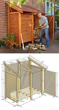 Legnaia fai da te A small but capacious outdoor DIY woodshed that does not disturb the aesthetics of the house and keeps the firewood dry. Backyard Storage, Garden Tool Storage, Backyard Sheds, Fire Pit Backyard, Backyard Patio, Backyard Landscaping, Outdoor Firewood Rack, Firewood Shed, Firewood Storage