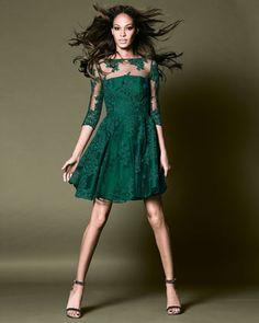 ML Monique Lhuillier Lace Illusion Cocktail Dress Emerald Green Lace Dress, Green Lace Dresses, Green Dress, Cocktail Dress 2017, Green Cocktail Dress, Monique Lhuillier, Always A Bridesmaid, Bridesmaid Dresses, Illusion