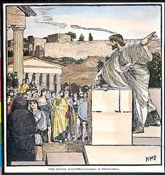 Desmosthenes, an Athenian leader, speaks to the Assembly. Ourselves Topic, History For Kids, New Law, Ancient Greece, World History, Student Learning, Athens, Elementary Schools, The Past