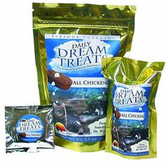 Meat-only snacks loaded with vitamins, minerals, probiotics, enzymes and natural nutraceuticals at $4.49  http://www.bboescape.com/products/buy/79/pet-products/Wysong-Dream-Treats-Chicken-oz-Bag