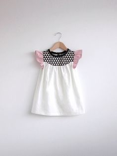 girls cotton dress with geo print detail by SwallowsReturn on Etsy