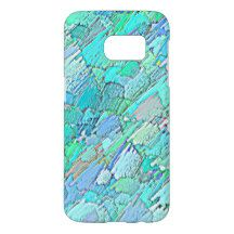 Colorful Blue Turquoise Aqua Green Crayon Pattern Samsung Galaxy S7 Case