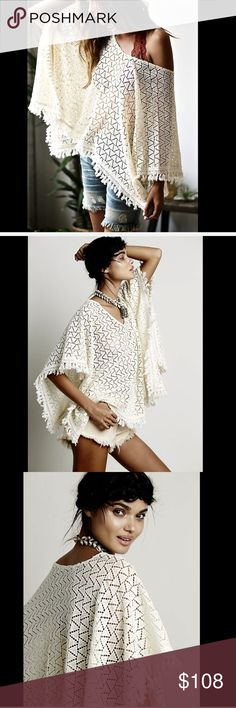 """Free People Lace Crochet Fringed Pullover Poncho Free People ivory Open Lace Crochet Fringed Pullover Poncho Cape vintage inspired lightweight crochet lace pullover poncho uneven hem & fringed trim * unlined New Without Tags  *  One Size retail price:  $128.00  29"""" long   Check out my other items! Be sure to add me to your favorites list! Free People Sweaters Shrugs & Ponchos"""