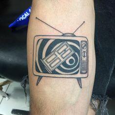 Twilight Zone Intro on an old TV set, tattoo by Liz Sanchez @ Needlepushers, Van Nuys, CA