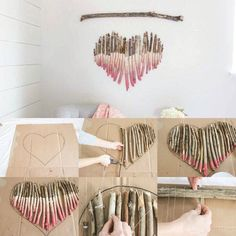 Diy deko holz herz ideas for the house diy deko holz, holz h Wooden Painting, Painted Driftwood, Driftwood Art, Stone Painting, Wood Feather, Yarn Wall Art, Driftwood Projects, Diy Projects, Painted Sticks