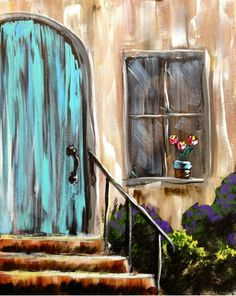 Blue Door Wine And Canvas, Building Painting, Mexico Art, Summer Painting, Diy Canvas Art, Pallet Art, Canvas Pictures, Whimsical Art, Painting Inspiration