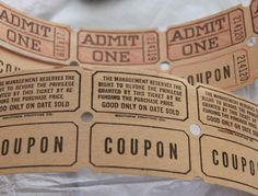 Vintage Admit One Tickets with Coupon Strip by SandrasCornerStore