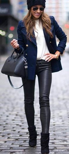 #streetstyle #spring2016 #inspiration |Navy + Black And White |Brooke Carrie Hill