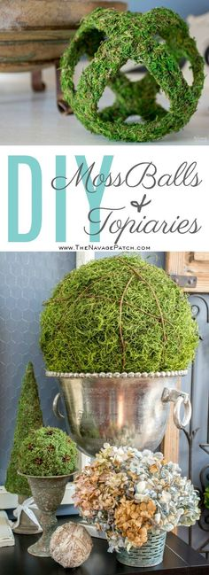 Moss Balls and Topiaries (Size Does Matter!) Moss Balls and Topiaries (Size Does Matter! Crafts For Teens To Make, Easy Diy Crafts, Cool Diy Projects, Diy On A Budget, Spring Crafts, Diy Room Decor, Diy Decoration, Accent Decor, Craft Ideas