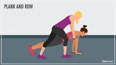 Plank and Row: After killing your lower body, you'll appreciate the slightly more relaxed plank and row exercise. Grab a dumbbell to complete the movement. #Fitness