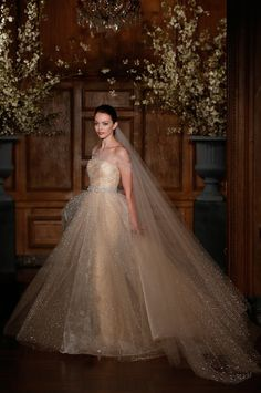 dreamy nude ballgown in all-over drop-crystal beading ~ Romona Kevezas Spring 2014 Bridal Couture Collection