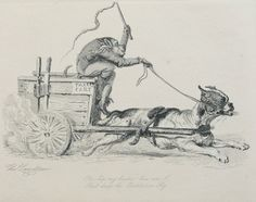 """Taxcart. Engraving on paper by Tho. Landseer. Caricature depicts a monkey driving a dog-pulled cart. Text reads """"Ya-hip my hearties! here am I/ That drives the Constitution Fly""""."""