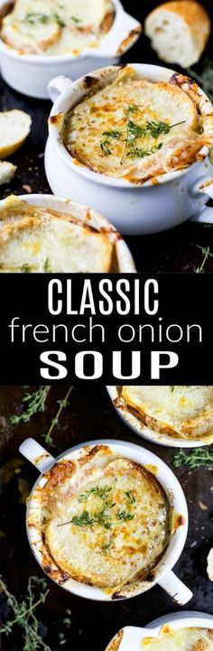 Classic French Onion Soup Easy Homemade FRENCH ONION SOUP - filled with caramelized onions, deep beef flavor then topped with gooey cheese! This French Onion Soup is a classic for the fall and sure to please any crowd! Homemade French Onion Soup, Classic French Onion Soup, Crockpot French Onion Soup, Onion Soup Recipes, Brocolli Recipes, Soup Broth, Beef Broth, Comfort Food, Soup And Salad