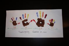 a Hand Turkey Family