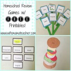 Classical Conversations/Homeschool Review games with FREE printables!  www.wifemamateacher.com Planning Cycle, Literacy Games, Classical Education, Review Games, School Games, Home Learning, School Parties, Educational Games, Kids Playing
