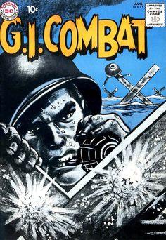 Classic cover by Jerry Grandenetti from G. Combat published by DC Comics, August War Comics, Marvel Dc Comics, Palisades Amusement Park, Series Dc, Tank Warfare, Comic Art, Comic Books, Bristol Board, Comics Story