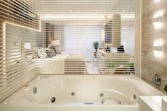 Alcove, Rio, Bathtub, Bathroom, Grey And White, Jalousies, Standing Bath, Travertine, Couple Room