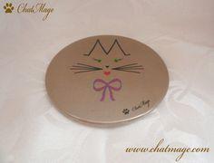 """Miroir de poche, miroir de sac, chat, ChatMage, """"Mademoiselle ChatMage"""", taupe, taupe clair, Pocket Mirror, Bag Mirror, cat, """"Miss ChatMage"""", taupe, light taupe"""