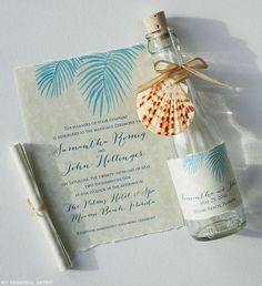 Painted palm leaves invitations | www.mospensstudio.com