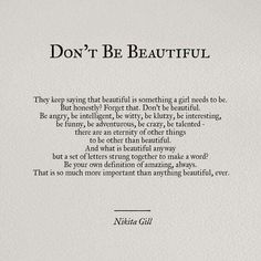 Don't Be Beautiful
