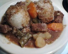 Beef Stew:  2# beef stew meat  1 beef bouillon cube  Salt and pepper to taste  1 tbsp. Worcestershire sauce  4 pieces garlic, minced  2 bay leaves  1 tsp. parsley  1/2 onion, diced  4 large potatoes, cubed  2 large carrots, sliced  1 bag string beans, sliced  1 green bell pepper, cubed  1 can mushrooms halves, drained  2 tbsp. cornstarch, this is to be added the last 45 minutes     Add all ingredients in your slow cooker (except cornstarch) and cook on high for 5-6 hours or on low 8-10 hour
