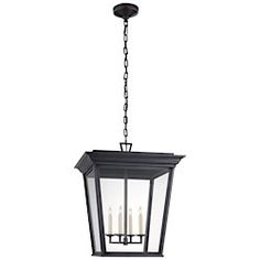 Visual Comfort Chart House by E. F. Chapman Cornice Large Outdoor Lantern in Blackened Copper with Clear Glass CHO 5522BC-CG