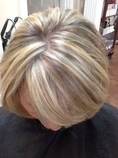 Auburn Base Color with Golden & Copper Highlights Service: 6 oz color glaze & #4 accent highlights