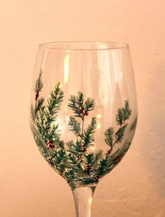 Items similar to Winter Greens Hand Painted Wine Glass on Etsy Decorated Wine Glasses, Hand Painted Wine Glasses, Wine Bottle Glasses, Christmas Wine Glasses, Wine Glass Designs, Glass Bottle Crafts, Painted Wine Bottles, Vase, Bottle Painting